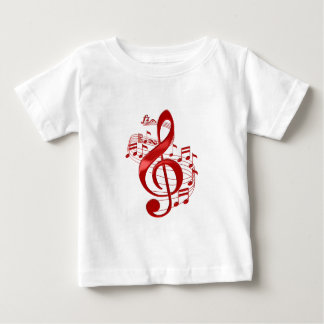 Red Treble Clef With Flowing Music Notes Baby T-Shirt