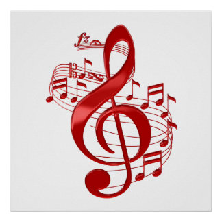 Red Treble Clef With Flowing Music Notes Poster