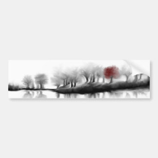 Red Tree Bumper Sticker