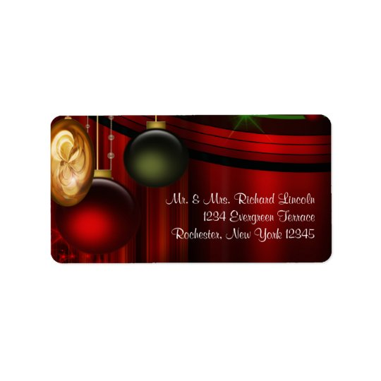 Red Tree Ornaments Christmas Address Labels