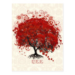 Red Tree Wedding Save The Date Silver Cloud Damask