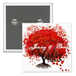 Red Tree Wedding T-Shirts, Gifts, Stickers & Favor 15 Cm Square Badge