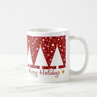 Red Trees Happy Holidays - Mug