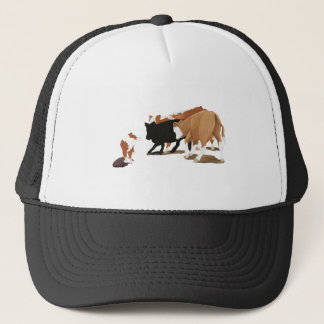 Red Tri Australian Shepherd Cow Dog Trucker Hat