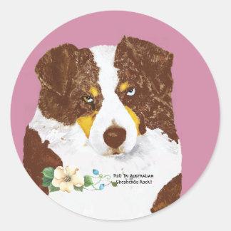 Red Tri Australian Shepherd Dog Portrait Round Sticker