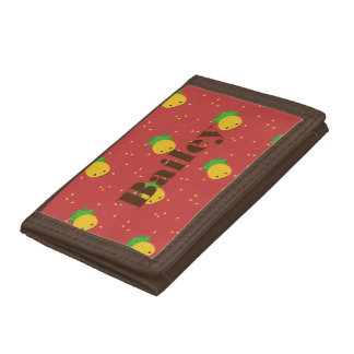 Red Tri Fold Wallet and Pineapple print all over