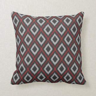 Red Tribal Ikat Throw Pillow