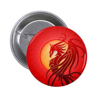 Red Tribal Phoenix 6 Cm Round Badge