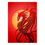 Red Tribal Phoenix Pack Of Chubby Business Cards