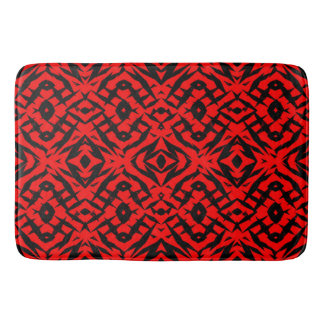Red tribal shapes pattern bath mat