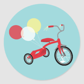 Red Tricycle Graphic Classic Round Sticker