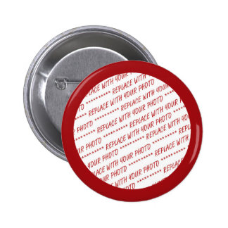 Red Trimmed Photo Template 6 Cm Round Badge