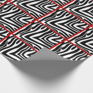 Red Trimmed Zebra Tiled Wrapping Paper
