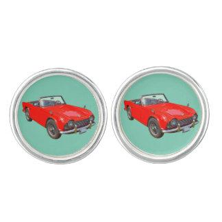 Red Triumph Tr4 Convertible SportsCar Cuff Links