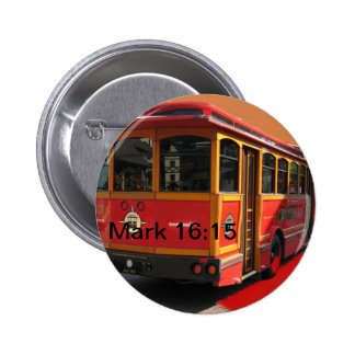 Red Trolley Bus Bible Verse Scripture Mark 16:15 6 Cm Round Badge
