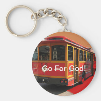 Red Trolley Bus Go for God Christian Basic Round Button Key Ring