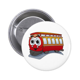 Red Trolley Cartoon 6 Cm Round Badge