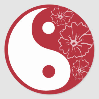 Red Tropical Flower Yin Yang Sticker