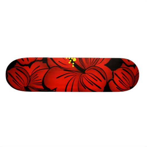 Red Tropical Hawaiian Hibiscus Flower design Skate Board Deck
