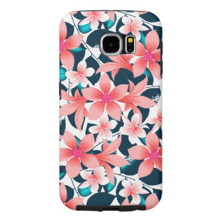 Red tropical hibiscus samsung galaxy s6 cases