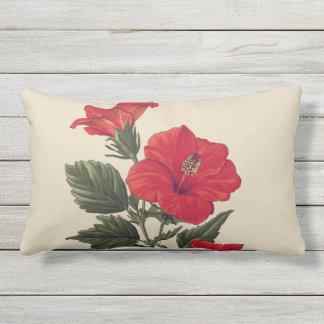 Red Tropical Hibiscus Tan Outdoor Lumbar Pillow