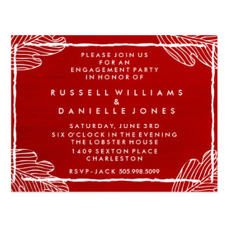 Red Tropical Leaf Engagement Party Postcard