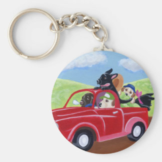 Red Truck and Labradors Key Ring