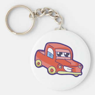 Red Truck Basic Round Button Key Ring