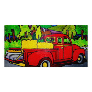 Red Truck by Pilieo Photo Greeting Card