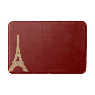 Red Tufted Look with Eiffel Tower Bath Mat