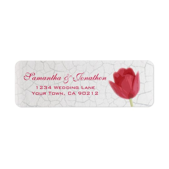 Red Tulip and Crackle Paint Custom Return Address Return Address Label