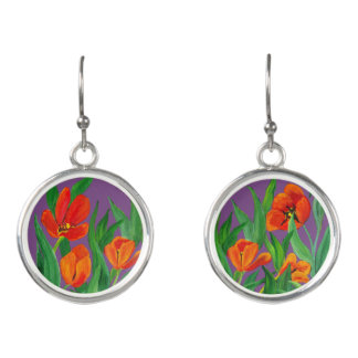 Red Tulip and Purple Earrings
