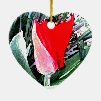 Red Tulip Double-Sided Heart Ceramic Christmas Ornament