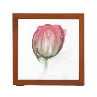 Red tulip desk organizer