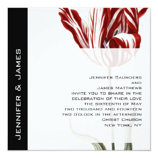 Red Tulip Floral Wedding Invitations