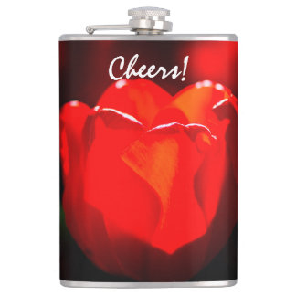 Red Tulip Flower - Fire Hip Flask