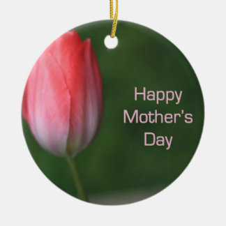 red tulip flower, happy mother's day christmas ornament
