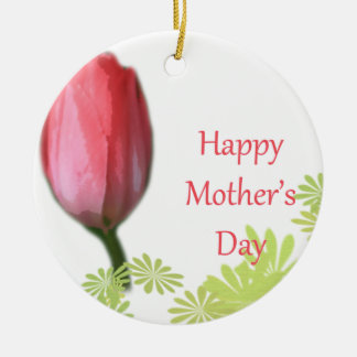 red tulip flower, happy mother's day christmas ornaments