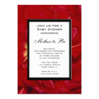 Red Tulip Frame Baby Shower Invitation
