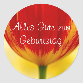 Red Tulip German Birthday Greeting Round Sticker