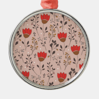 Red Tulip Hand Drawn Doodle Silver-Colored Round Decoration