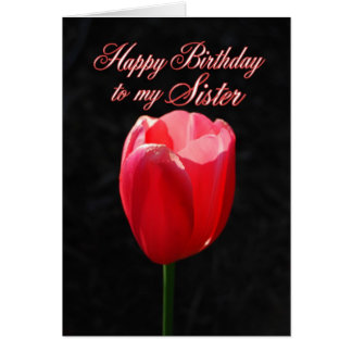 Red Tulip Happy Birthday Sister Greeting Card