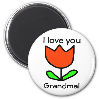 Red Tulip / Love you Grandma Magnet