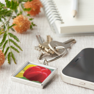 Red Tulip Photograph Keychain