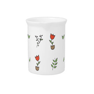 Red Tulip Potted Plant Pattern Beverage Pitcher