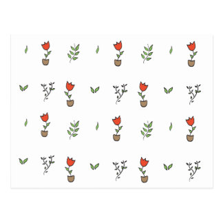 Red Tulip Potted Plant Pattern Postcard