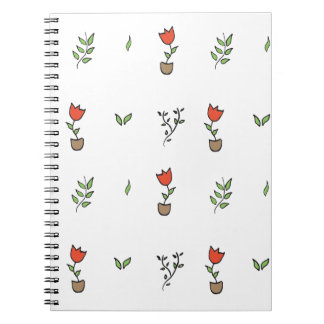 Red Tulip Potted Plant Pattern Spiral Notebook