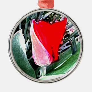 Red Tulip Silver-Colored Round Decoration