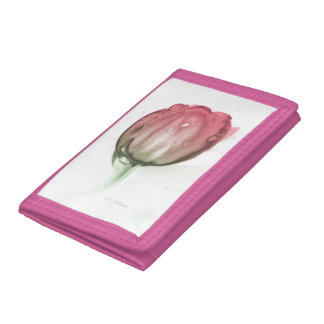 Red tulip tri-fold wallet