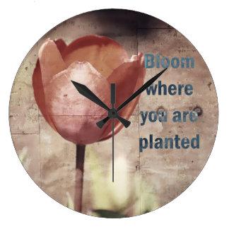 Red Tulips Bloom Wall Clocks